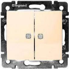 Valena - Выключатель двухклавишный с двумя индикаторами, сл.кость