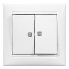 Valena - Выключатель двухклавишный с двумя индикаторами, белый
