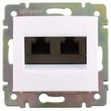 Valena - Розетка 2хRJ-45 FTP CAT6 монтаж на винтах, белая