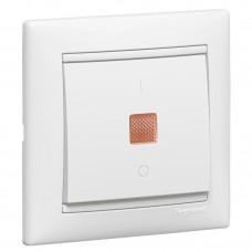 Valena - Выключатель двухполюсный с индикацией, белый