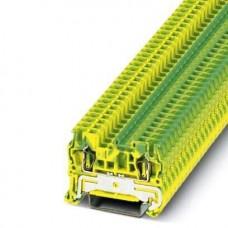Клемма защитного проводника ST 2,5-PE /5,2mm, пружинная, 2 присоед., 2,5(max 4)mm2, желто-зеленая