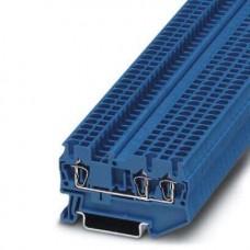 Клемма проходная ST 2,5-TWIN BU /5,2mm, пружинная, 3 присоед., 2,5(max 4)mm2, 24A, 800V, синяя