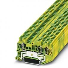 Клемма защитного проводника ST 2,5-TWIN-PE /5,2mm, пружинная, 3 присоед., 2,5(max 4)mm2, желто-зеленая