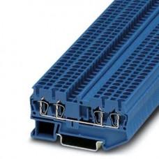 Клемма проходная ST 2,5-QUATTRO BU /5,2mm, пружинная, 4 присоед., 2,5(max 4)mm2, 24A, 800V, синяя