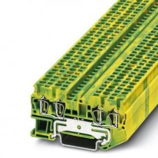 Клемма защитного проводника ST 2,5-QUATTRO-PE /5,2mm, пружинная, 4 присоед., 2,5(max 4)mm2, желто-зеленая