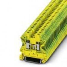 Клемма защитного проводника UT 2,5-PE /5,2mm, винтовая, 2 присоед., 2,5(max 4)mm2, желто-зеленая