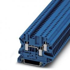 Клемма проходная UT 2,5-TWIN BU /5,2mm, винтовая, 3 присоед., 2,5(max 4)mm2, 24A, 500V, синяя
